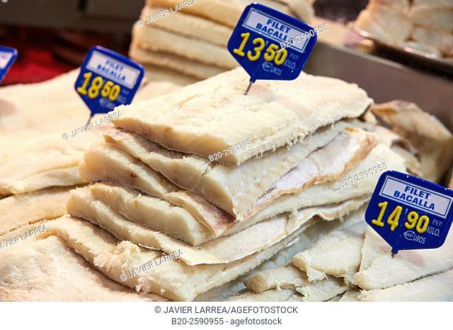Salted cod loins, Mercat St Josep, La Boqueria market, Las Ramblas. Barcelona. Catalonia. Spain