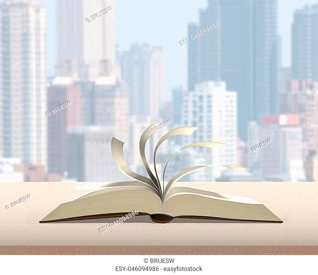 Flipping pages of open book on wood table with city building view background nobody, 3D rendering