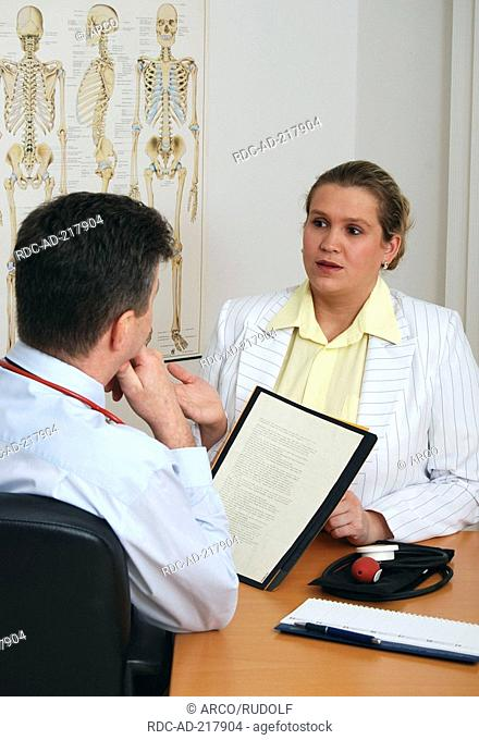 Patient at doctor, file card, calendar, blood pressure meter, anatomical image sceleton