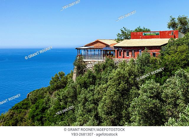 The Bella Vista Taverna Overlooking The Bay At Paleokastritsa, Corfu Island, Greece