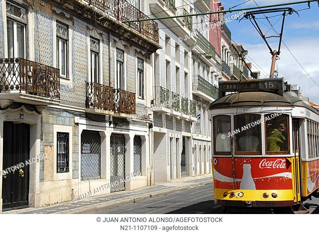 Tram going along the Rua da Junqueira, Santo Amaro, Lisbon, Portugal