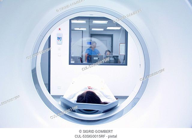 Patient laying in CT scanner
