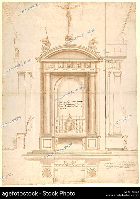 Design for an Altar Surmounted by a Crucifix in Four Different Views. Artist: Vincenzo de' Rossi (Italian, Fiesole 1525-1587 Florence); Former Attribution:...