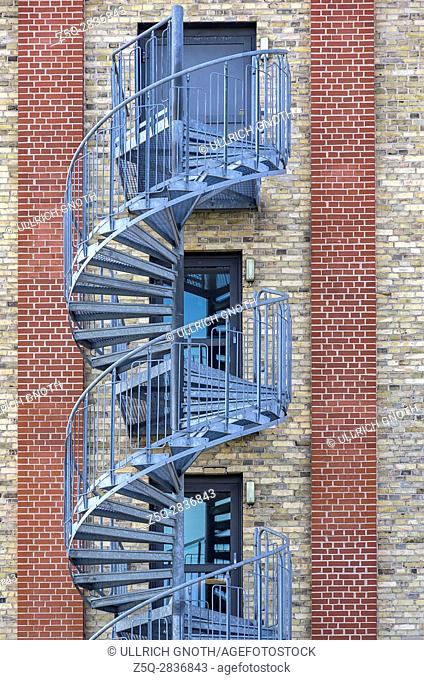 Structures of the city - Spiral staircase at the exterior of an modern building, Trelleborg, Sweden