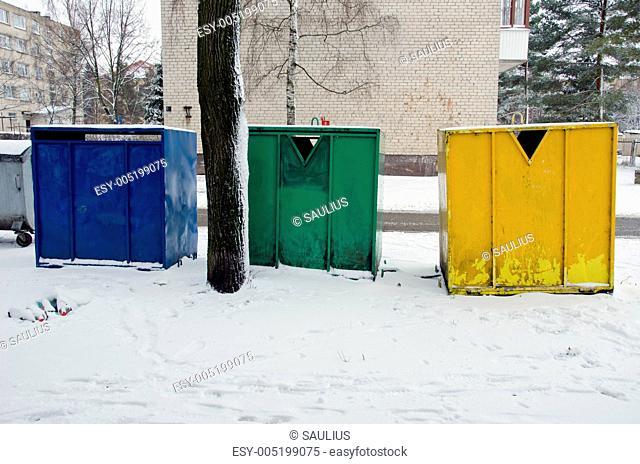 waste sorting in multistore residential houses bin