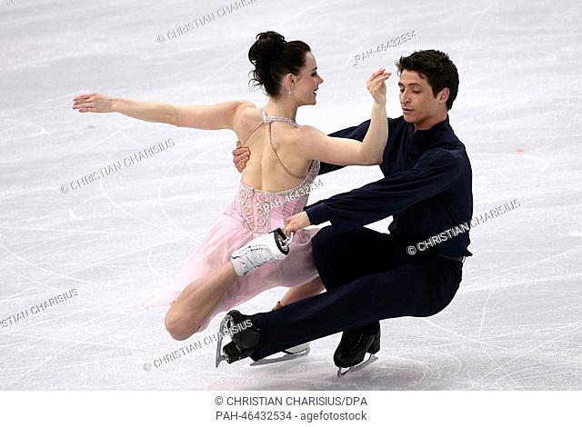 Tessa Virtue and Scott Moir of Canada perform during the Figure in the Figure Skating Ice Dance Free Dance at the Iceberg Skating Palace during the Sochi 2014...