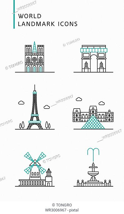 Icons of landmarks in France