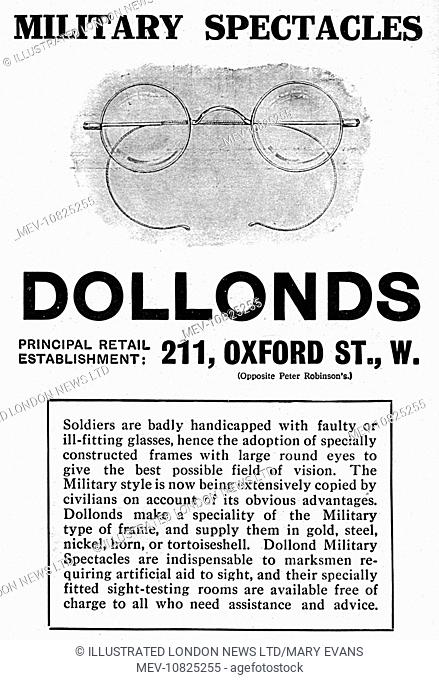 Advertisement for military spectacles, with specially constructed frames with large round eyes to give the best possible field of vision