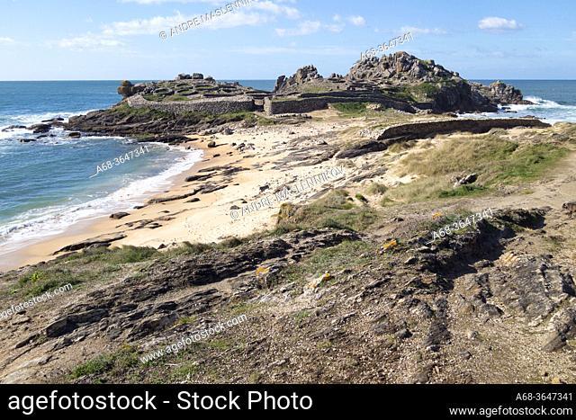 Castro de Baroña, Porto do Son, A Coruña, Spain. The Castro de Baroña is an Iron Age fortified settlement located in the parish of Baroña