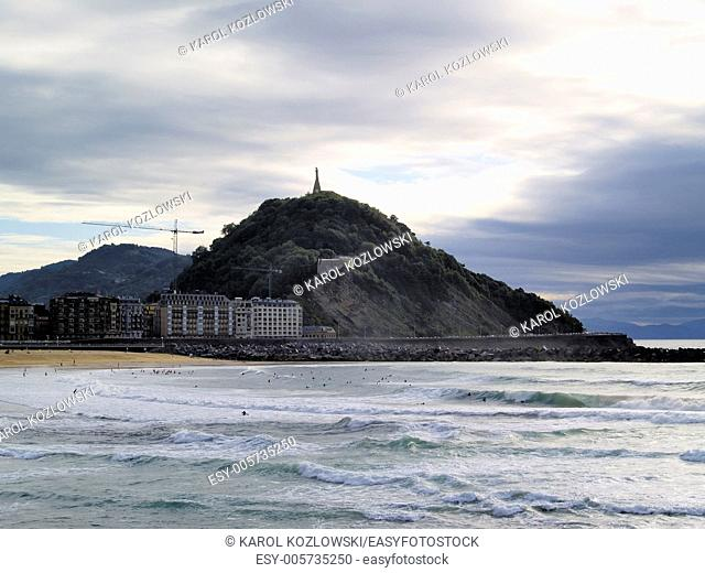 La Zurriola Beach in Donostia - San Sebastian, Basque Country, Spain