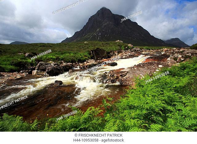 Mountain, mountains, Etive, mountains, water, summit, peak, Glencoe, Great Britain, Europe, Highland, highlands, cascade, scenery, nature, panorama, Highlands