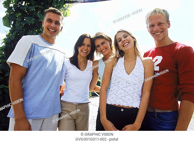 Portrait of a group of young people smiling