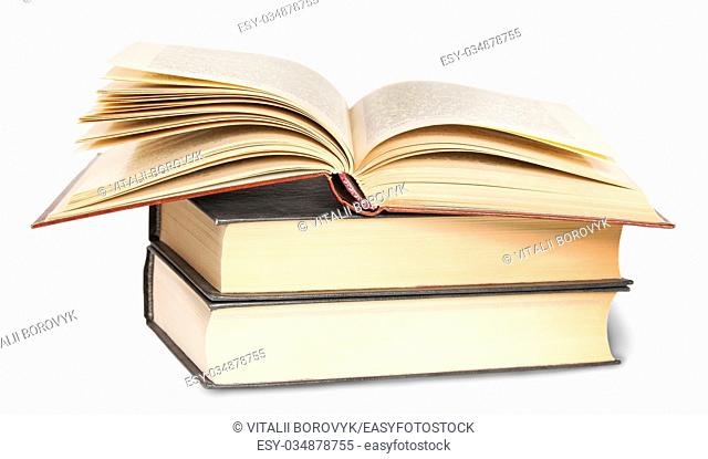 Two Closed Books And One Opened Isolated On White Bacground