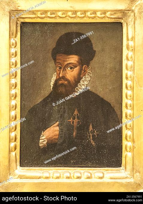 Madrid, Spain - Jul 11th, 2020: Francisco Pizarro, portrait, 16th Century. Spanish Conqueror of Inca Empire. Unknown artist