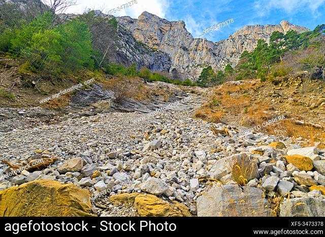 Stone River, Ansó Valley, Valles Occidentales Natural Park, Jacetania, Pyrenees, Huesca, Aragón, Spain, Europe