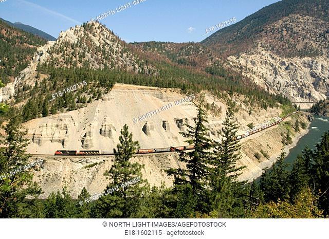 Canada, BC, Lytton  CN Rail Freight train in the Thompson River Canyon