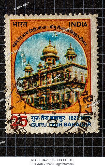 Guru tegh bahadur, postage stamps india, asia