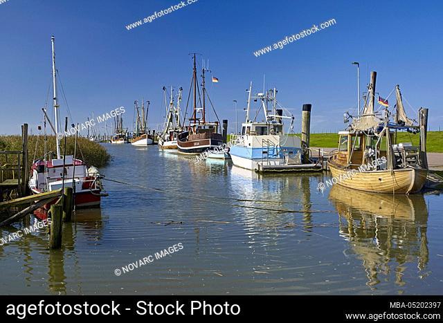 Harbor in Spieka Neufeld, Wurster coast, Lower Saxony, Germany