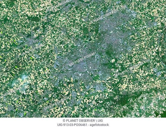 Colour satellite image of Lille, France. Image taken on April 17, 2014 with Landsat 8 data