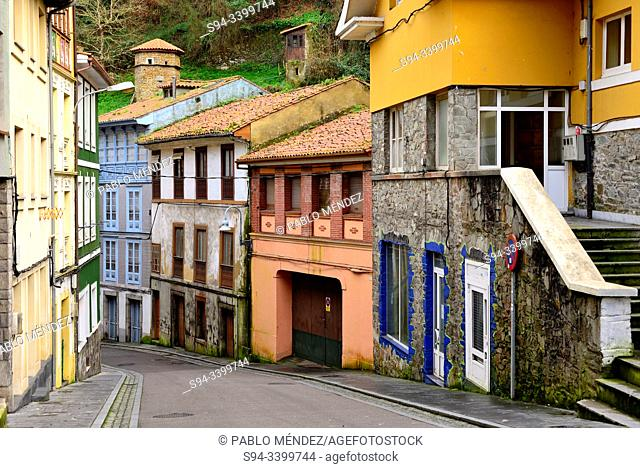 Street with coloured houses in Cudillero, Asturias, Spain