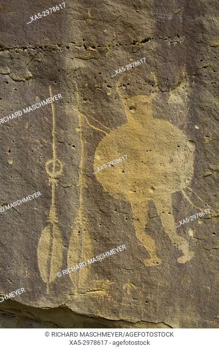 Warrior Panel, Petroglyph, up to 1,500 years old, Crow Canyon, New Mexico, USA
