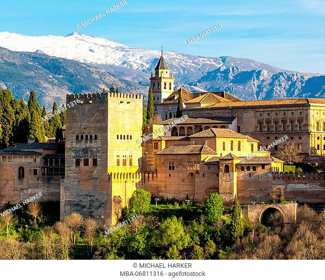 Europe, Spain, Andalusia, Granada, view of Alhambra
