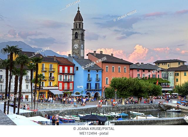 evening sky in the summer in Ascona Ticino