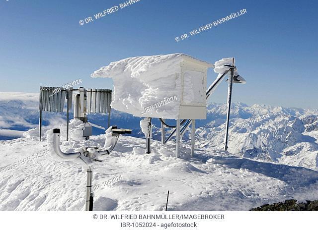 Snow-covered weather station at the peak of the Klein Matterhorn mountain, Zermatt, Valais, Switzerland, Europe