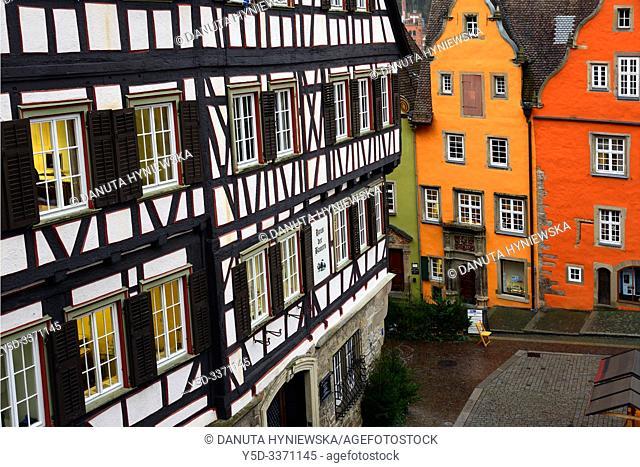 Traditional architecture with half-timbered house on left, Marktplatz, historic part of Schwäbisch Hall, Schwäbisch Hall, Baden-Württemberg, Germany, Europe