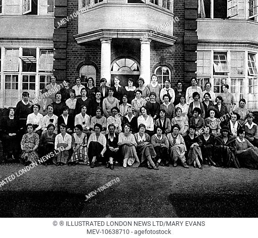 A group of third year students at Newnham College, Cambridge University, 1921. At this time, women were not accorded equal academic rights and privileges with...