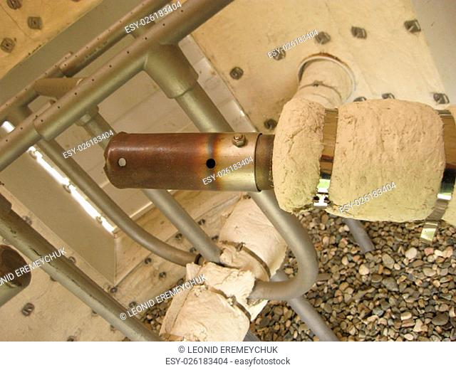 Gas ring in torch system of the closed type, appearance. An asbestine covering in a torch