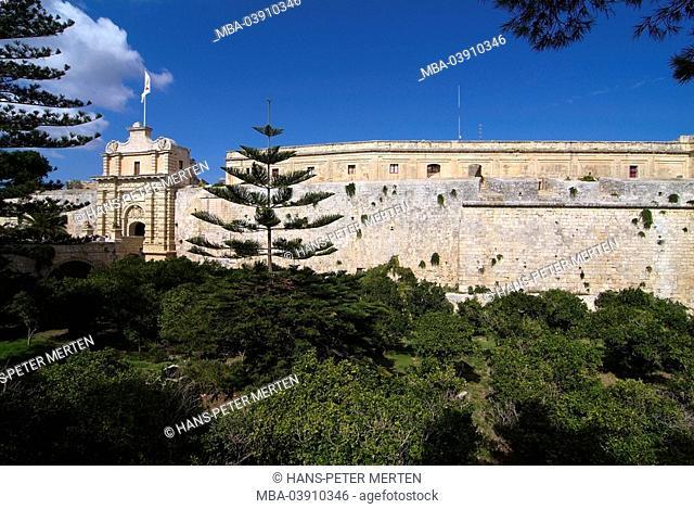 Malta, Mdina, city wall, city port