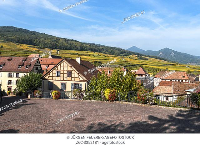 view over Hunawihr and foothills with vineyards, Alsace, France, member of the most beautiful villages of France