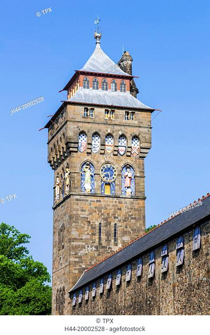 Wales, Cardiff, Cardiff Castle, Clock Tower