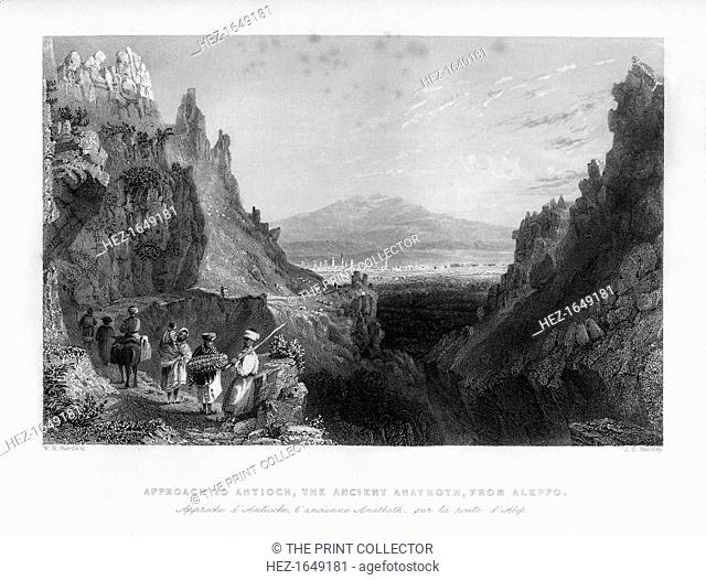 The approach to Antioch, the ancient Anathoth, from Aleppo, Turkey, 1841. From Syria, the Holy land and Asia Minor, volume II, by John Carne