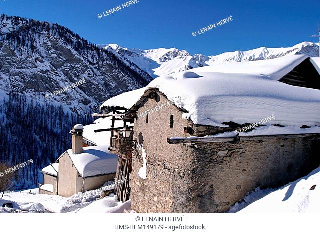 France, Hautes Alpes, parc regional du Queyras, Saint Veran village, labelled Les Plus Beaux Villages de France The Most Beautiful Villages of France