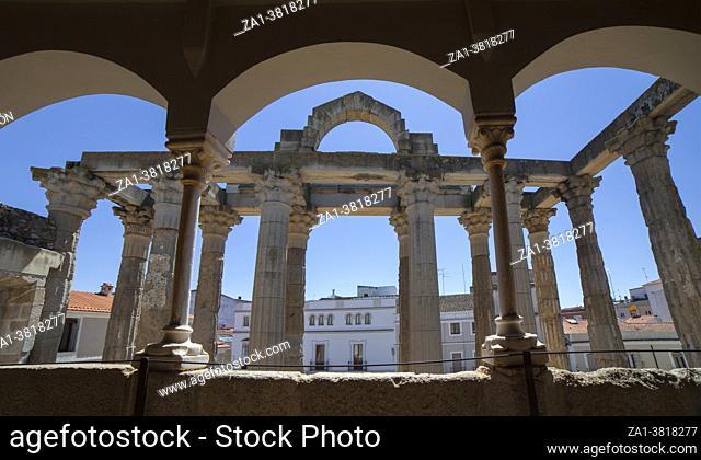 Merida, Spain - April 17th, 2021: Temple of Diana seen from Interpretation Centre upper floor, Merida, Extremadura, Spain