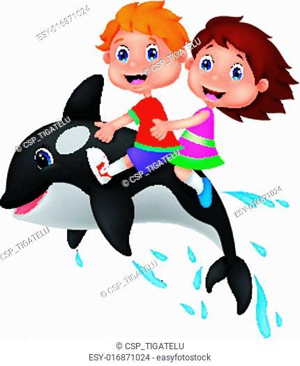 Cartoon Boy and girl riding orca