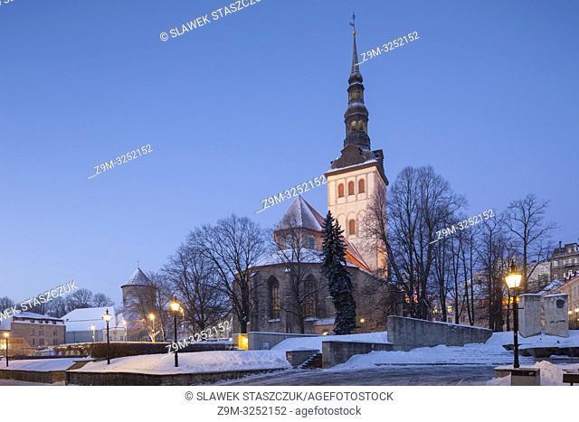 Winter dawn at St Nicholas church Tallinn old town, Estonia