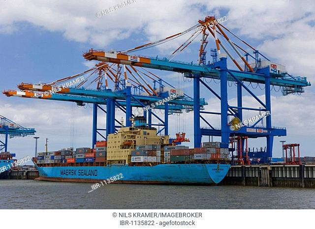 Container ship Maersk Nassau Ankara at the container terminal in Bremerhaven, Germany