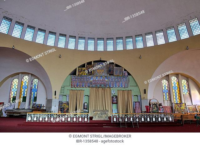 Interior of Saint Mary of Zion cathedral of the Ethiopian orthodox church at Aksum, Axum, Tigray, Ethiopia, Africa