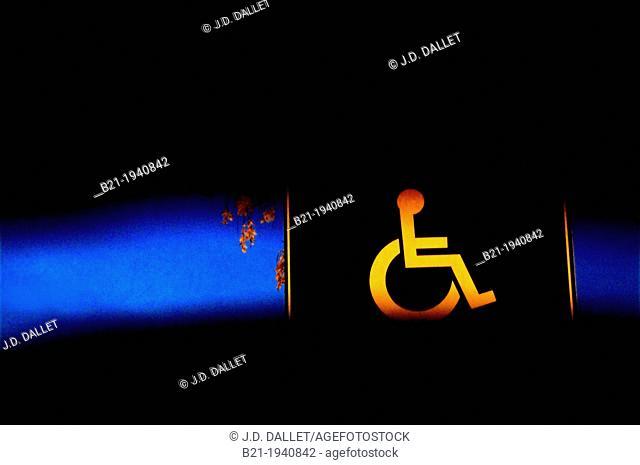 Handicapped car parking sign, France