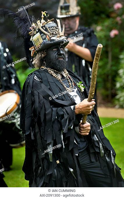 Morris Dancer With Black-Painted Face, Lewes, East Sussex, Uk