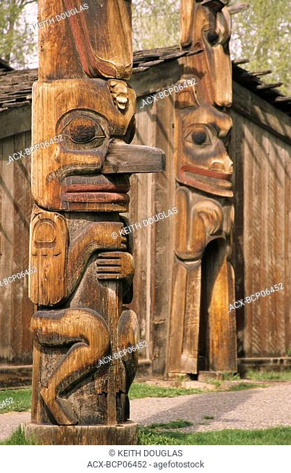Ksan Historical Village, a replica of an ancient Gitxsan village situated at the confluence of the Skeena and Bulkley rivers, Hazelton, British Columbia, Canada