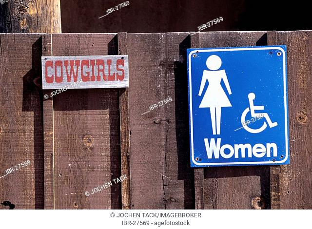 USA, United States of America, Arizona: Toilet sign in the Old Tucson Studios theme park