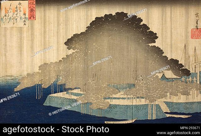 Author: Utagawa Hiroshige. Night Rain at Karasaki (Karasaki no yau), from the series 'Eight Views of Omi (Omi hakkei no uchi)' - c