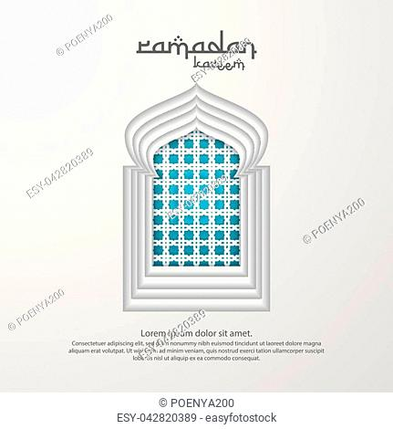 Ramadan Kareem islamic greeting card design with 3D dome mosque, door or window, and pattern element. paper cut background style. Vector illustration