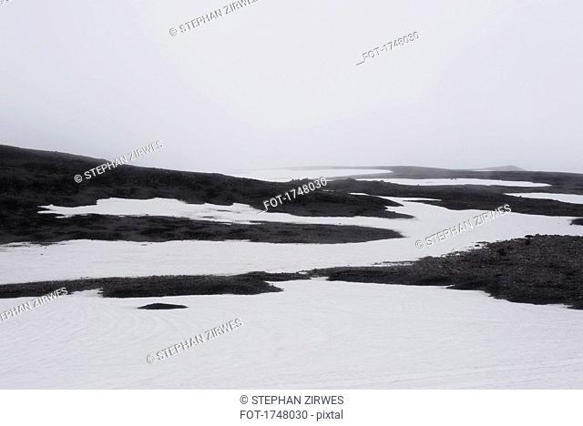 Idyllic shot of landscape against sky during winter, Highlands, Iceland