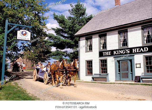 New Brunswick, NB, Canada, Wagon rides at King's Landing Historical Settlement next to King's Head Inn