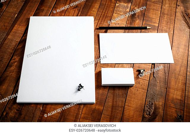 Blank stationery template. Blank letterhead, business cards, envelope and pencil. Mock-up for design presentations and portfolios